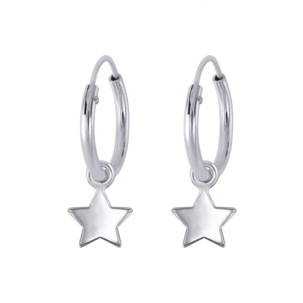 Wholesale Silver Star Charm Hoop Earrings