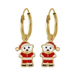 Wholesale Silver Santa Bear Charm Hoop Earrings