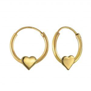 Wholesale Silver Heart Hoop Earrings