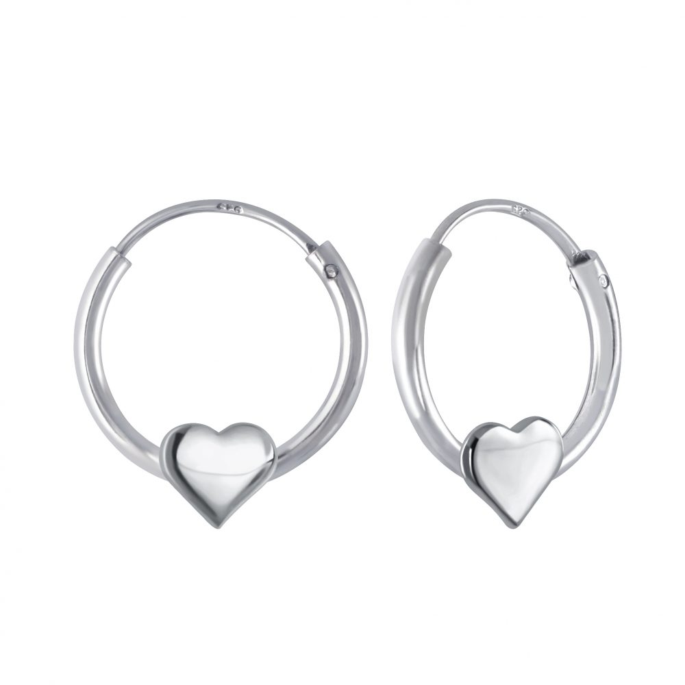Wholesale Silver Heart Hoop Earrings