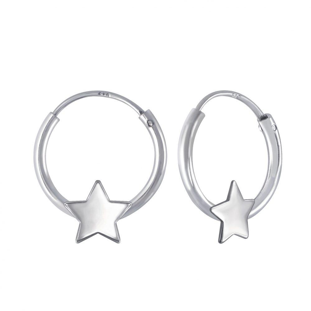 Wholesale Silver Star Hoop Earrings