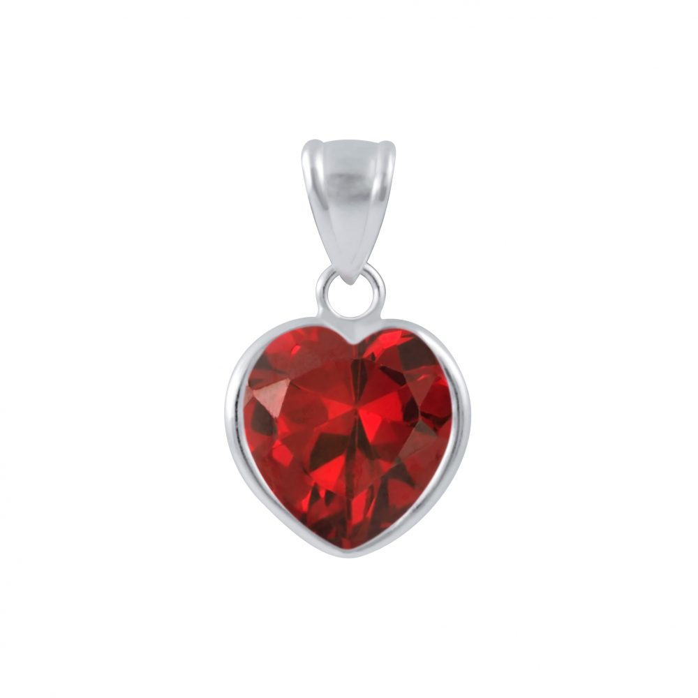 Wholesale 10mm Heart Cubic Zirconia Silver Pendant