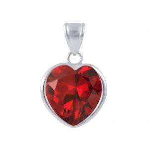 Wholesale 12mm Heart Cubic Zirconia Silver Pendant