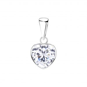 Wholesale 8mm Heart Cubic Zirconia Silver Pendant