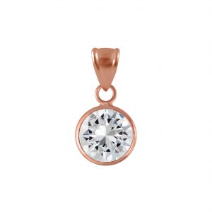 Wholesale 8mm Round Cubic Zirconia Silver Pendant