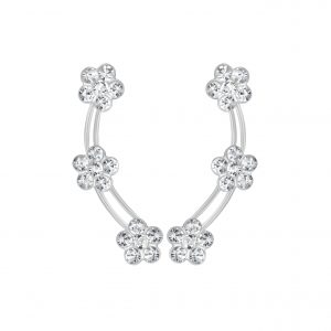 Wholesale Silver Flower Crystal Ear Climbers