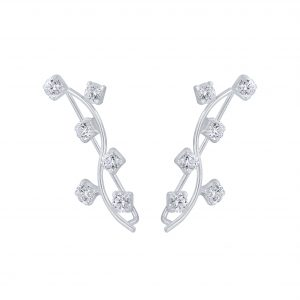 Wholesale Silver Branch Cubic Zirconia Ear Climbers