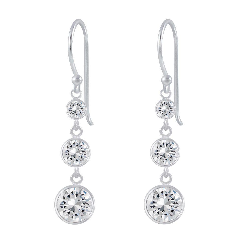 Wholesale Silver Cubic Zirconia Dangle Earrings