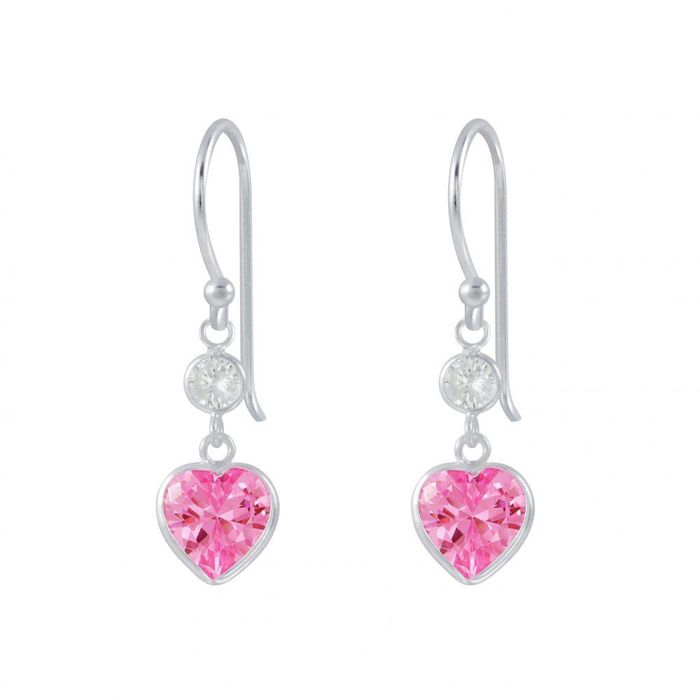 Wholesale Silver Heart Cubic Zirconia Dangle Earrings