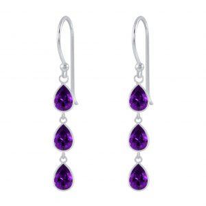 Wholesale Silver Tear Drop Cubic Zirconia Dangle Earrings