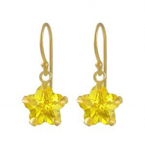 Wholesale 8mm Flower Cubic Zirconia Silver Earrings
