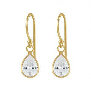 Wholesale 6x8mm Pear Cubic Zirconia Silver Earrings