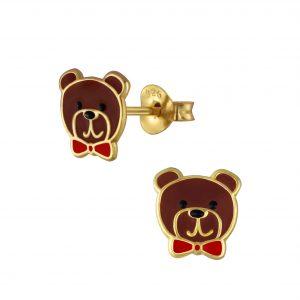Wholesale Silver Bear Stud Earrings
