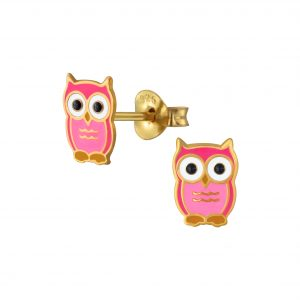 Wholesale Silver Owl Stud Earrings