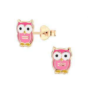 Wholesale Silver Owl Stud Earrings
