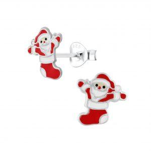 Wholesale Silver Santa Stud Earrings