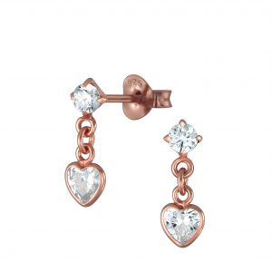 Wholesale Silver Heart Drop Earrings