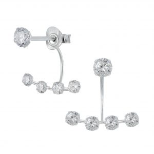 Wholesale Silver Round Cubic Zirconia Ear Jackets