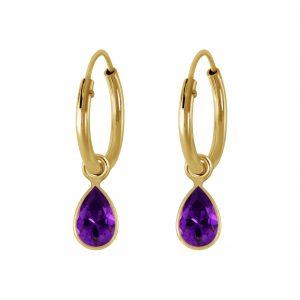 Wholesale 4x6mm Pear Cubic Zirconia Silver Charm Hoop Earrings