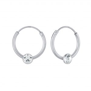 Wholesale 4mm Round Crystal Hoop Earrings