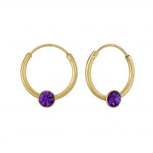 Wholesale 4mm Round Crystal Hoop Earrings