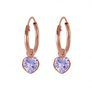 Wholesale 4mm Heart Cubic Zirconia Silver Charm Hoop Earrings