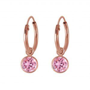 Wholesale 4mm Round Cubic Zirconia Silver Charm Hoop Earrings