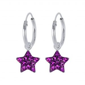 Wholesale Silver Crystal Star Charm Hoop Earrings