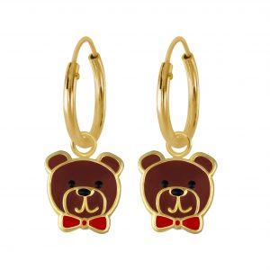 Wholesale Silver Bear Charm Hoop Earrings