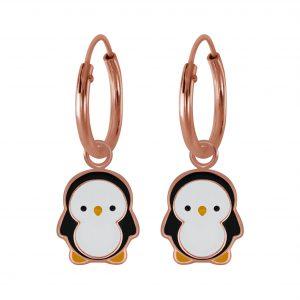 Wholesale Silver Penguin Charm Hoop Earrings