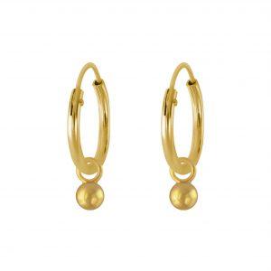 Wholesale 3mm Silver Ball Charm Hoop Earrings