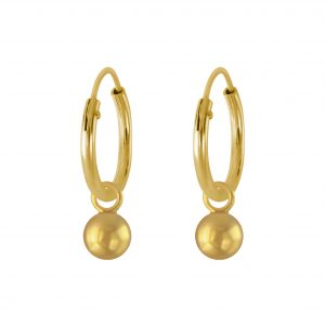 Wholesale 4mm Silver Ball Charm Hoop Earrings