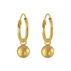 Wholesale 5mm Silver Ball Charm Hoop Earrings