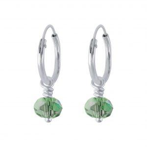 Wholesale Silver Handmade Bead Charm Hoop Earrings