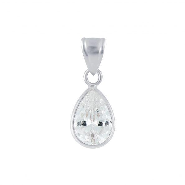 Wholesale 7x10mm Pear Cubic Zirconia Silver Pendant