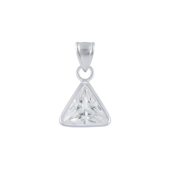 Wholesale 6mm Triangle Cubic Zirconia Silver Pendant