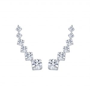 Wholesale Silver Curved Line Crystal Ear Climbers