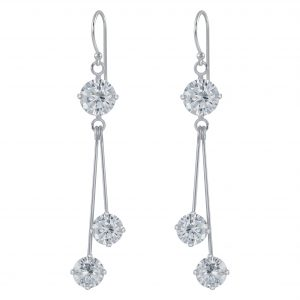 Wholesale Silver Cubic Zirconia Round Earrings