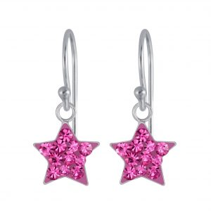 Wholesale Silver Crystal Star Earrings