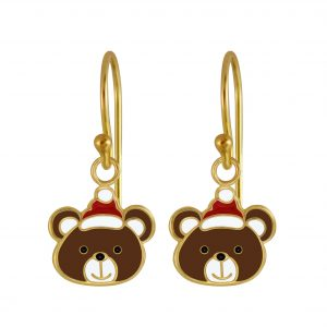 Wholesale Silver Christmas Bear Earrings