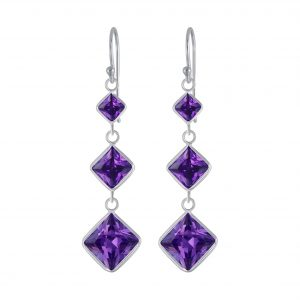 Wholesale Silver Square Cubic Zirconia Dangle Earrings