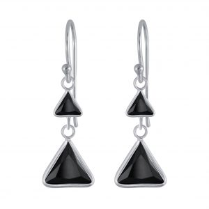 Wholesale Silver Triangle Cubic Zirconia Dangle Earrings