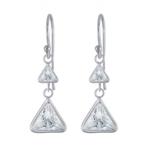 Wholesale Silver Triangle Cubic Zirconia Dangle Earrings