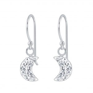 Wholesale Silver Half Moon Crystal Earrings