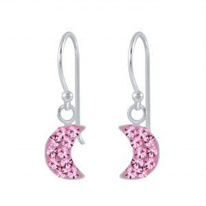 Wholesale Silver Half Moon Crystal Earrings