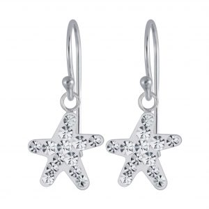 Wholesale Silver Starfish Crystal Earrings