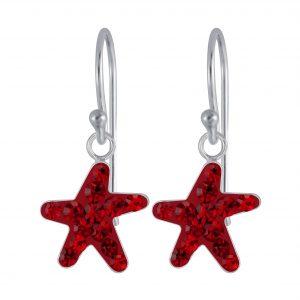 Wholesale Silver Starfish Crystal Earrings