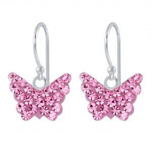 Wholesale Silver Butterfly Crystal Earrings