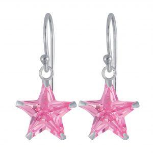 Wholesale 10mm Star Cubic Zirconia Silver Earrings