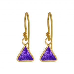 Wholesale 6mm Triangle Cubic Zirconia Silver Earrings
